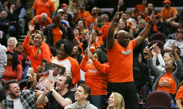 Bowling Green fans celebrate as the Falcons beat Ball State 99-86 in a quarterfinal game in the Mid American Conference Men's Basketball Tournament Thursday, March 14, 2019 in Cleveland. THE BLADE/DAVE ZAPOTOSKY MACtournament15