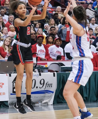 Rogers' Kearrah Peace (2) hits a three-point-basket against Dayton Carroll during a girls Division II State Championship basketball game Saturday, March 16, 2019, at the Jerome Schottenstein Center in Columbus, Ohio. Rogers defeated Carroll, 56-45.THE BLADE/JEREMY WADSWORTH SPT D2stateGBK17