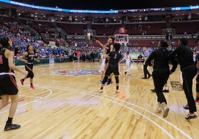 Rogers' players celebrate winning the girls Division II State Championship by defeating Dayton Carroll, 56-45, Saturday, March 16, 2019, at the Jerome Schottenstein Center in Columbus, Ohio.THE BLADE/JEREMY WADSWORTH SPT D2stateGBK17