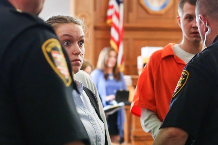 Kathryn Vose reacts as she walks out of Judge Jennings' courtroom at the Lucas County Courthouse in Toledo, Ohio on Wednesday April 17, 2019. Vose was a girl's varsity assistant coach at Central Catholic and is charged with having a sexual relationship with a player. Her trial is scheduled for May 28. THE BLADE/REBECCA BENSON CTY VOSE18