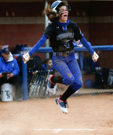 Springfield's Joelle Reuling reacts to scoring the winning run against Anthony Wayne during a softball game at Springfield Softball complex in Holland, Ohio on Wednesday, April 17, 2019. THE BLADE/LORI KING SPT AWspringSB18p