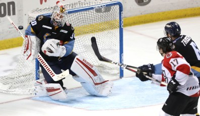 Toledo goalie Pat Nagle makes his 27th save against Cincinnati in the third period of Game 3 of the Central Division hockey finals at the Huntington Center in Toledo. THE BLADE/LORI KING