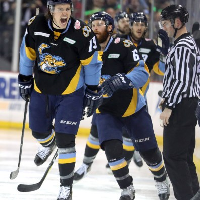 Toledo's Ben Storm (19) celebrates the first Walleye goal during the sixth game of the ECHL Western Conference finals series of Kelly Cup playoffs between the Toledo Walleye and Tulsa Oilers at the Huntington Center in Toledo on Monday, May 20, 2019. THE BLADE/KURT STEISS SPT Walleye21p