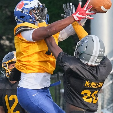 Black Team DB Darrell McMillian of Start High School breaks up a pass intended for Gold Team receiver Domo McClain (15) of Woodward High School during the Northwest Ohio Regional All-Star Football Game Friday, June 21, 2019, at Steinecker Stadium in Perrysburg, Ohio. THE BLADE/JEREMY WADSWORTH SPT AllStar22