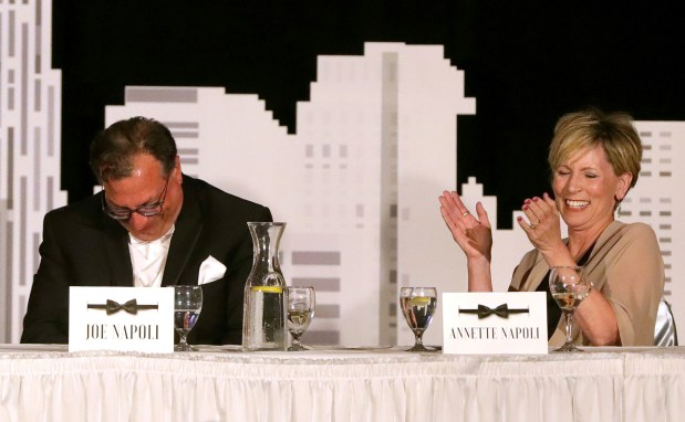 Joe Napoli, left, and Annette Napoli laugh at a joke at Joe's expense during the roast at the Toledo Rotary Foundation Gala at Parkway Place in Maumee, Ohio, on Saturday, June 15, 2019. THE BLADE/KURT STEISS