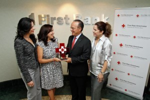 During the award ceremony at FirstBank, from left: Nayda Rivera, executive vice president of FirstBank, Vanessa Lee Feliciano, executive director of the American Red Cross Puerto Rico Chapter, Aurelio Alemán, and Geraldine Cerame, financial development coordinator for the local Red Cross.