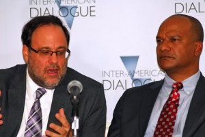 Peter Bunting, Jamaica's national security minister, and Mark Golding, its minister of justice, discuss how their country is fighting lottery scams that fuel violent criminal groups. The two spoke during a Feb. 22 conference at Washington's Inter-American Dialogue. (Credit: Larry Luxner)