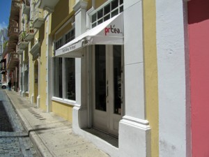 PRTea, a combination coffee and tea shop resides inside an airy locale on Cruz Street.