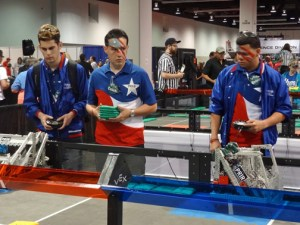Members of the Puerto Rican delegation that competed in California operate their robots. (Credit: PRIOR)