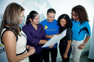 From left: Enactus Chairwoman Carmen Laura Marrero and several of the students participating in the Enactus competition.