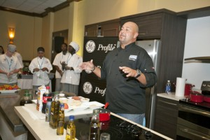 Puerto Rican Chef Mario Pagán leads a kitchen demo.