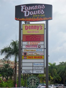 The sign announcing the arrival of the new Denny's restaurant is already up. (Credit: Meliza Ayuso)