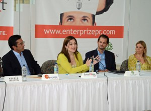 From left: Manny Morales from EVERTEC, Grupo Guayacán Executive Director Laura Cantero, Francisco Uriarte, and Lucienne Gigante during Tuesday's news conference.
