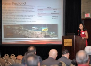 Grace Santana speaks before the Association of General Contractors annual convention.