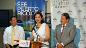 From left: Sen. Angel Rodríguez-Otero, Puerto Rico Tourism Company Executive Director Ingrid Rivera and Sen. Antonio Fas-Alzamora during a news conference Sunday.