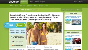"""Groupon launched its """"group coupon"""" offers in Puerto Rico in 2011."""