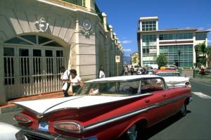 Classic 1959 Chevy Impala parked at Parque Céspedes, Santiago de Cuba. (Credit: Larry Luxner)