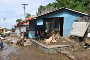 Flooding and destruction follow Dec. 24 torrential rains in St. Vincent. (Credit: Larry Luxner)