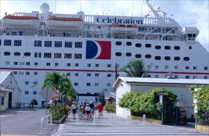 Celebration cruise ship docks at Havensight Mall, St. Thomas. (Credit: Larry Luxner)