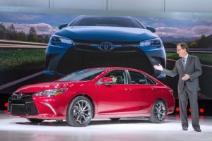 Bill Fay, vice president of Toyota Motor Sales, U.S.A. Inc., introduces the new 2015 Toyota Camry at 2014 New York International Auto Show on Wednesday. (Credit: Joe Polimeni)