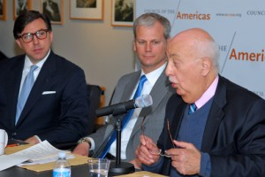 """Russell M. Dallen Jr., president and editor-in-chief of the Latin American Herald Tribune (left), and Eric Farnsworth, vice-president of the Americas Society/Council of the Americas (center), listen as John F. Maisto, former U.S. ambassador to Venezuela (right), speaks in Washington DC about the current situation in that country. All three men spoke at AS-COA's Apr. 9 event, """"Venezuela: Taking Stock One Year after Nicolás Maduro's Election.""""  (Credit: Larry Luxner)"""