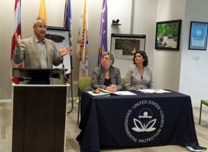 From left: EPA staffers José Rivera and Judith Enck, and Department of Natural and Environmental Resources Secretary Carmen Guerrero.