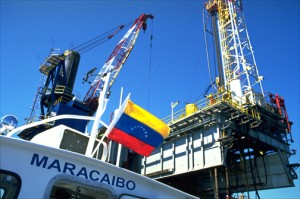 Boat docks at offshore drilling platform in Venezuela's Lake Maracaibo. Through the Petrocaribe initiative, Venezuela has become a major source of crude oil and petroleum byproducts to 17 countries in Central America and the Caribbean. (Credit: Larry Luxner)