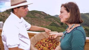 Grant recipient Hacienda Tres Ángeles was recently included in the Puerto Rico Tourism Co.'s agritourism program. Above, owner Juan Meléndez and Tourism Chief Ingrid Rivera meet during the certification ceremony.