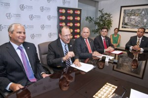 From left: Economic Development and Commerce Secretary Alberto Bacó,  Jaime Fonalledas, Manuel Catedral, Francisco Chévere and EDB President Joey Cancel discuss details of the competition.