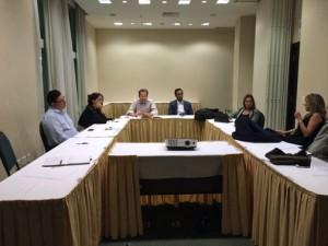 PRIDCO Executive Director Antonio Medina-Comas, far left, sits in on a briefing prior to the start of the Iberoamerican Economic Congress.