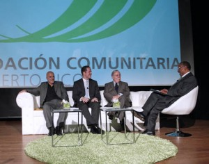 "The event at the Puerto Rico Museum of Art included a panel discussion by (from left) Public Management Expert Manuel ""Coco"" Morales, Secretary of State David Bernier, Economist José Joaquín Villamil and Puerto Rico Community Foundation President Nelson Colón."