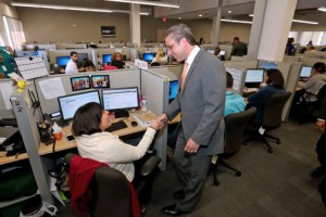 Gov. García-Padilla was on hand for Monday's inauguration of Infosys BPO's new Aguadilla operations.