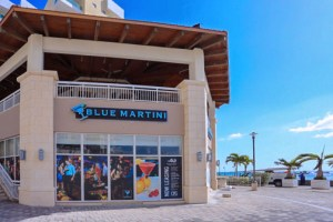 Blue Martini Lounge is known for its extensive menu of handcrafted cocktails, including 42 martinis designed exclusively by its bartenders featuring unique, fresh flavors to suit all palates.