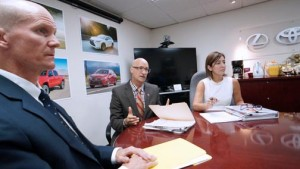 From left: Toyota executives Brett Beals, George Christoff, and Nancy Navales.