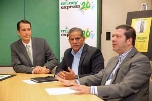From left: Antonio Pertiñez, senior vice president of marketing and public relations at FirstBank, Reynaldo Padilla, Money Express' general manager, and Carlos Power, president of Money Express Corporation.