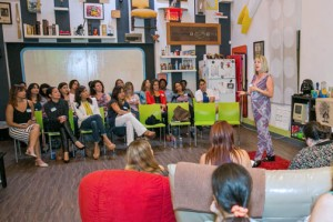 Joy Lynn Suárez speaks during the presentation of School Climate Solutions in the Women Tech Over event. (Credit: Emilio León)