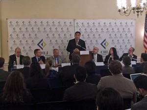 Private Sector Coalition members, including PRMA President Carlos Rivera-Vélez (at podium) spoke before the Congressional Hispanic Leadership Institute.