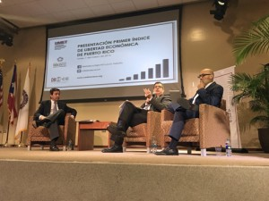 From left: Former Gov. Luis Fortuño and Economists Carlos Colón de Armas and Gustavo Vélez unveil details of the index.