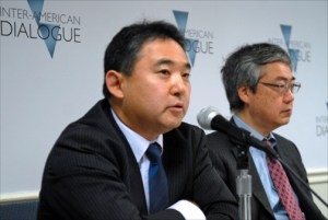 Norihide Tsutsumi of Mitsubishi Peru (left) and Kazushige Taniguchi of the Inter-American Development Bank. (Credit: Larry Luxner)
