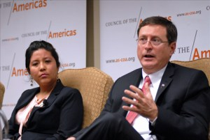 Román Macaya, Costa Rica's ambassador to the United States (at right), speaks in Washington about the threat of Zika to Latin America and the Caribbean as part of a panel organized by the Council of the Americas. At his side is Ana Ayala, director of the global health law program at Georgetown University's O'Neill Institute. (Credit: Larry Luxner)