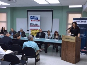 SBA District Director Yvette T. Collazo speaks during the kick-off ceremony hosted by Technology Initiative of the Northeast (INTENE by its Spanish acronym) at Universidad del Este.