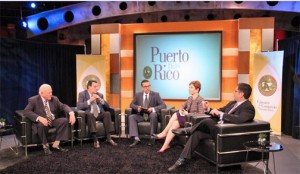 From left: Carlos Romero-Barceló, Antonio J. Colorado, Journalist Luis Guardiola, Heidie Calero and Antonio Fernós-Sagebién during the taping of the upcoming TV special.