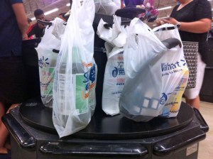 Walmart, for one, will continue bagging purchases in plastic, phasing out disposable bags over the course of the six-month grace period. (Credit: Diego Andres Cantor)