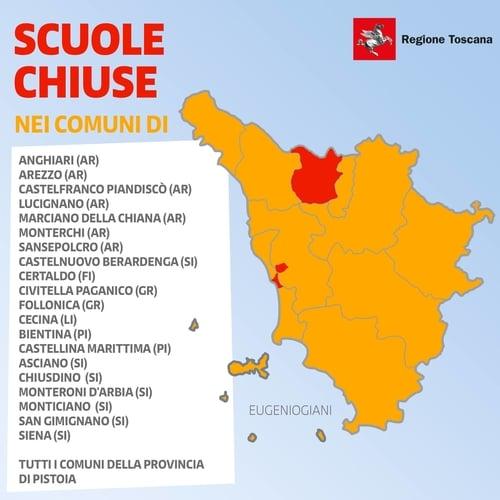 Lista Scuole Chiuse in Toscana 8 Marzo