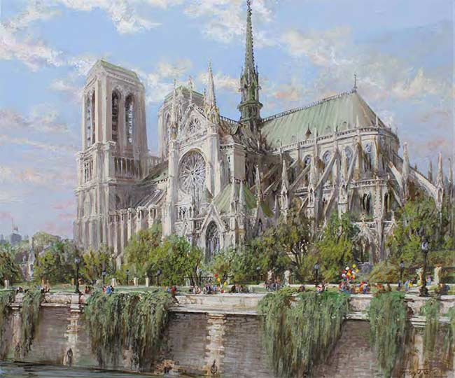"Notre Dame Cathedral, Paris | 36"" x 40"" acrylic on canvas"