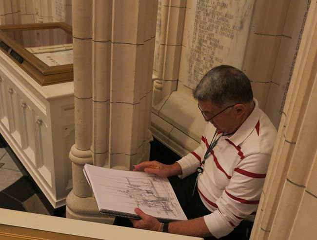 Tony sketching in the Peace Tower's Memorial Chamber. 2015