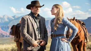 James Marsden as Teddy and Evan Rachel Wood as Dolores Abernathy make up the quintessential cowboy couple in Westworld, and serve as a focal point for the plot of the show.