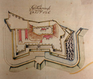 Bird's-eye view, ground plan of the fort-- Watercolour, Rumpf's diary, 1717-21, ARA, The Hague