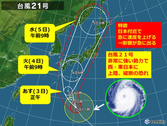 2018台風21号進路予想
