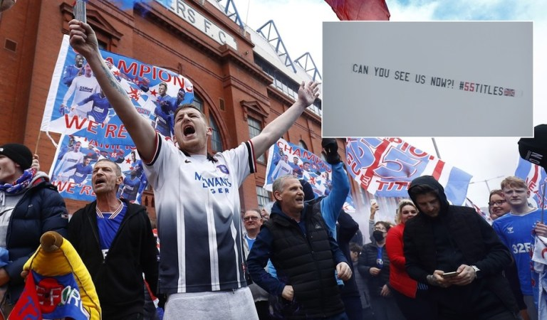 'Can you see us now?' Rangers fans rejoice as turgid Celtic draw to end Glasgow rivals' 10 year-wait for title